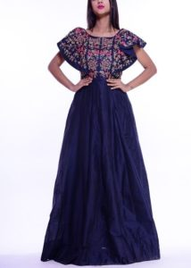 Deep blue Floral embroidery dress