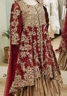 Traditional red pakistani bridal frock