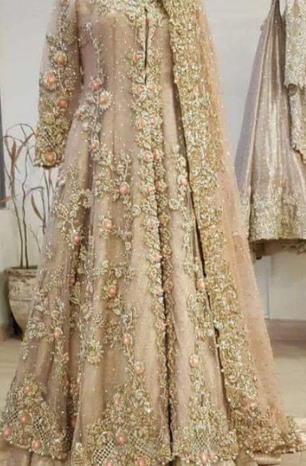 Skin colored light Indian Bridal Frock for Wedding
