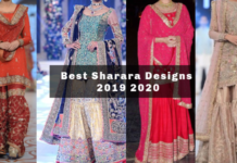 Models displaying sharara designs