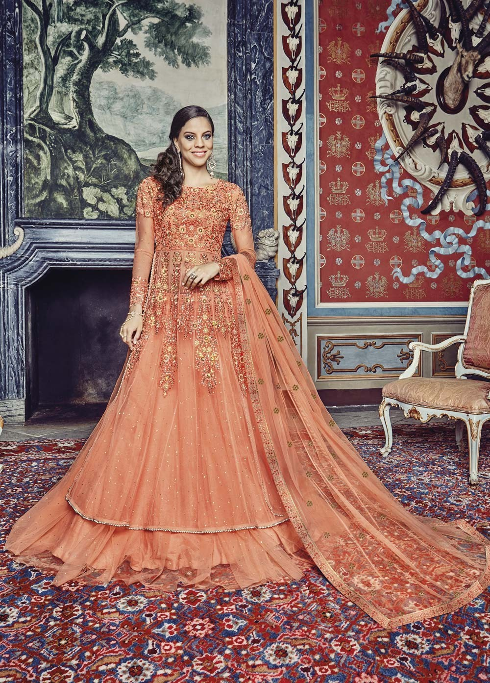 orange Embroidered maxi for engagement