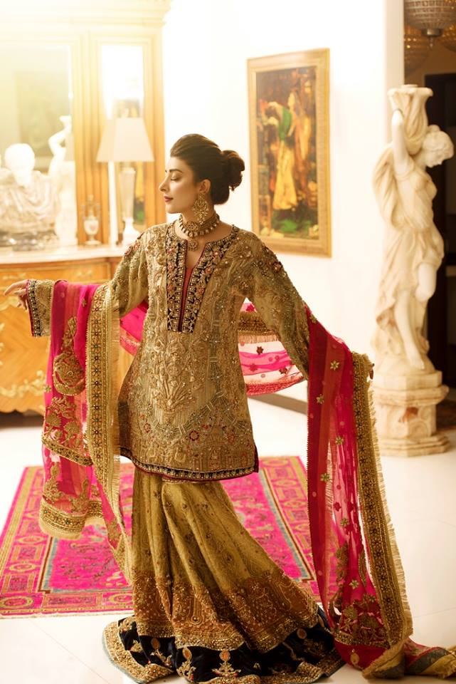 Gorgeous engagement gharara dress with pink dupatta
