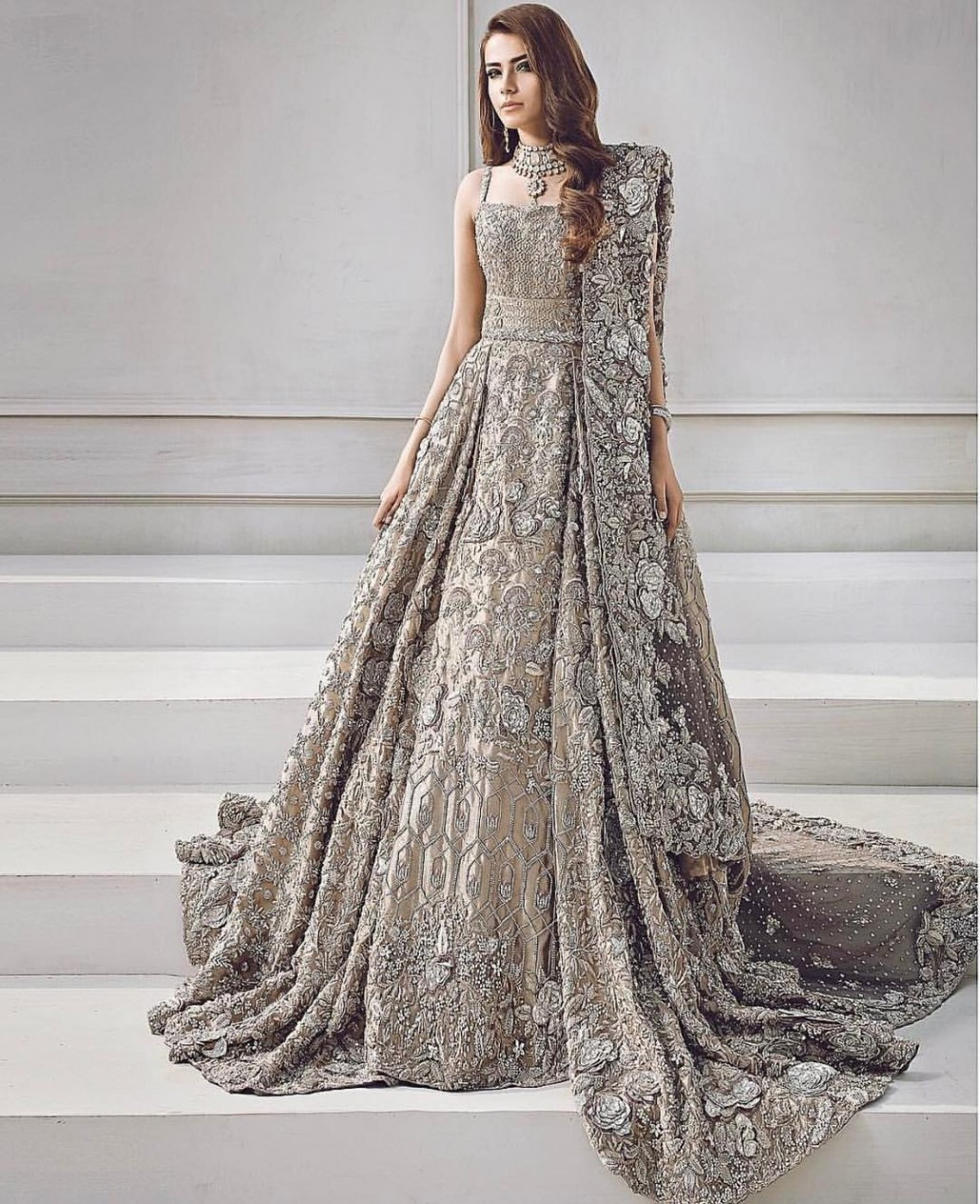 gray royal look pakistani engagement dress design