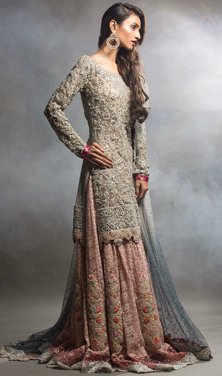 Long Shirt Embroided Lehenga for Engagement