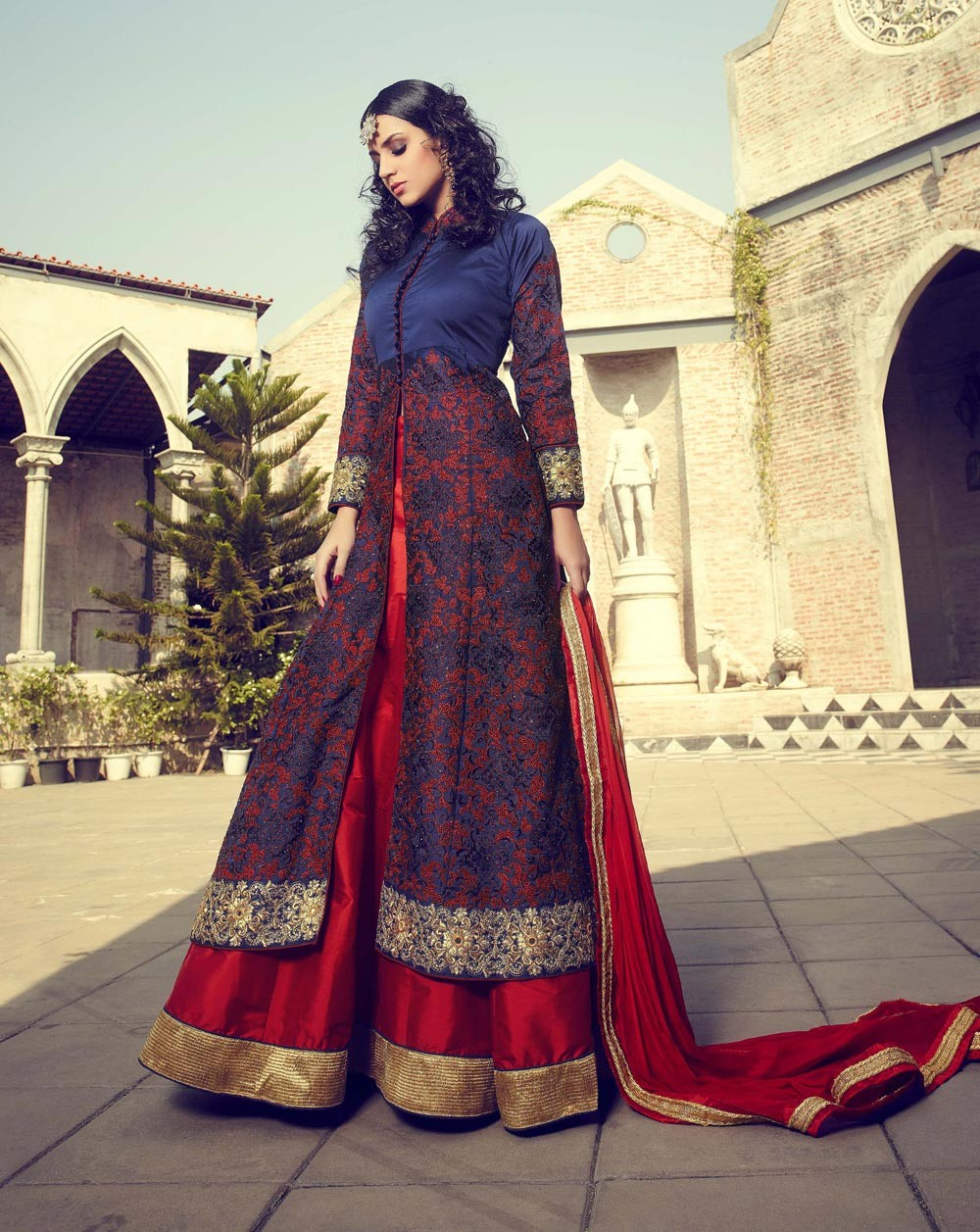 Dark Blue & Red Engagement Lehenga Dress