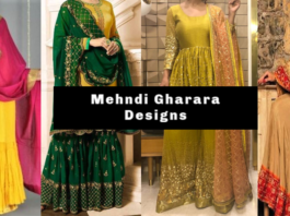 Top Trending Pakistani & Indian Mehndi Gharara designs