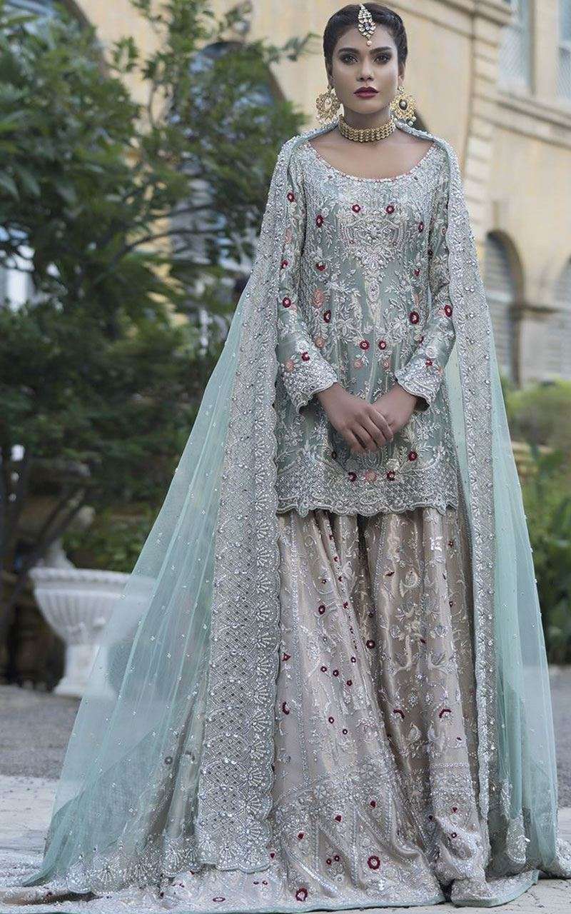 Pakistani Silver bridal dress design