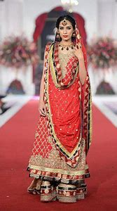bridal long choli with sharara