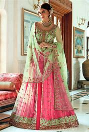 bridal sharara with anarkali choli