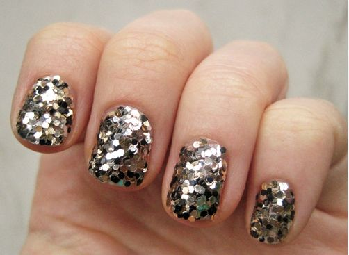 fully sequinned nail art