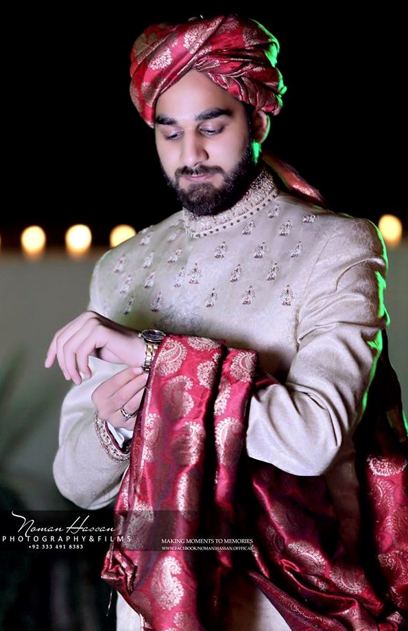 Embroidered Jamawar sherwani for groom