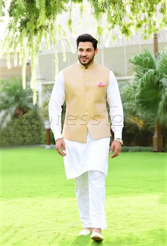 White kurta and plain silk waist coat