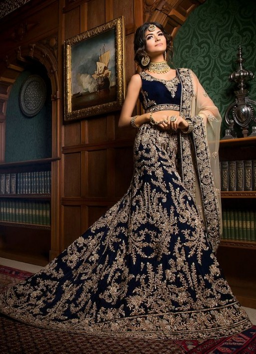 Designer Blue Color Bridal Dress