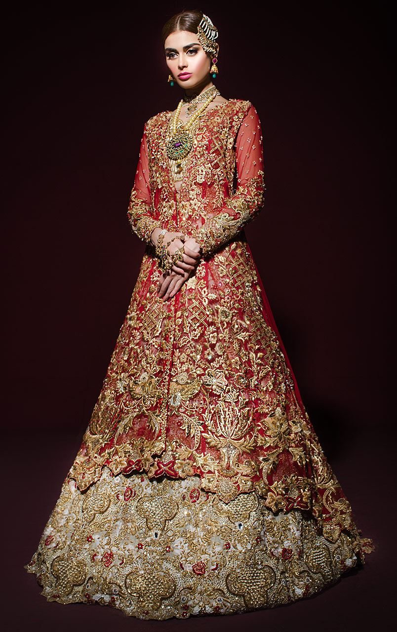 Gold and Red Net Tail Jacket Bridal Dress Design