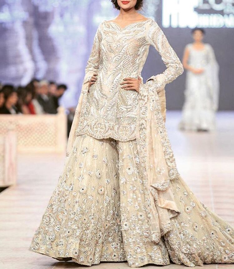 Off white bridal fine design sharara design