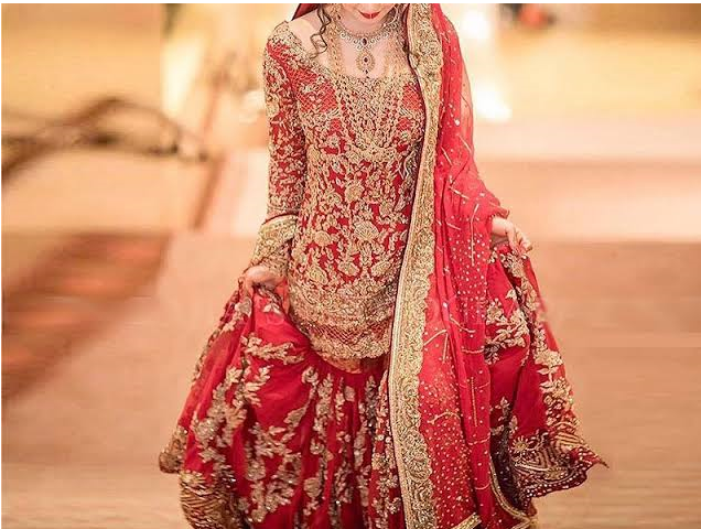 Red Color Heavy Design Sharara for Barat