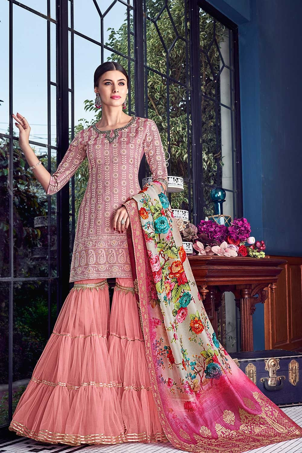 Pink Sharara Design for Bridal