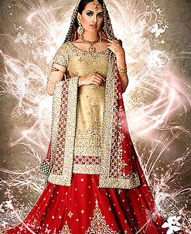 Red and golden barat dress bridal design 2020